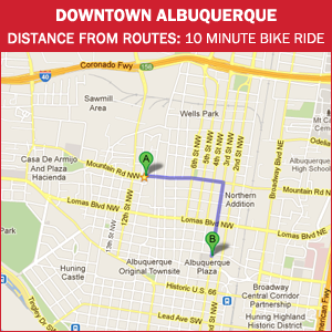 Routes Bicycle Rentals Tour of Downtown Albuquerque, New Mexico by bike.