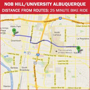 Routes Bicycle Rentals & Tours. Nob Hill and the University Area, Albuquerque, New Mexico by bike.