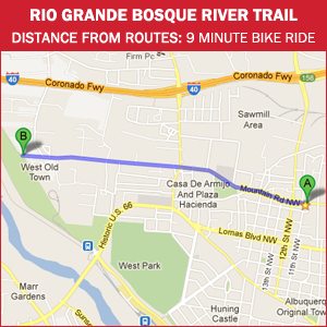 Routes Bicycle Rentals Tour of the Rio Grande Bosque River Trail Albuquerque, New Mexico by bike.