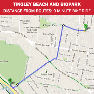 Routes Bicycle Rentals & Tours. Tingley Beach and the BioPark. Albuquerque, New Mexico by bike.