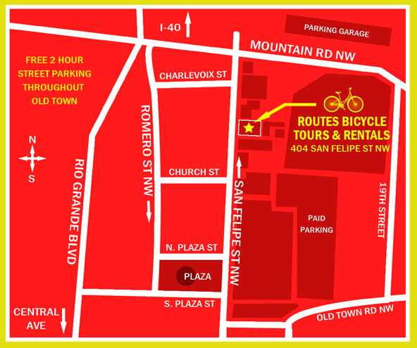 Routes Bicycle Tours Bike Rentals Albuquerque Map
