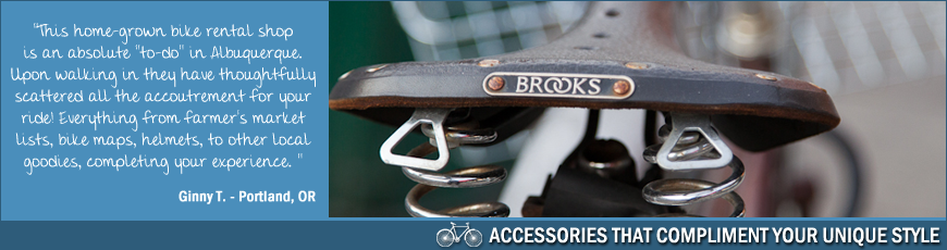 Routes Rentals & Tours has a fantastic selection of stylish bicycle accessories