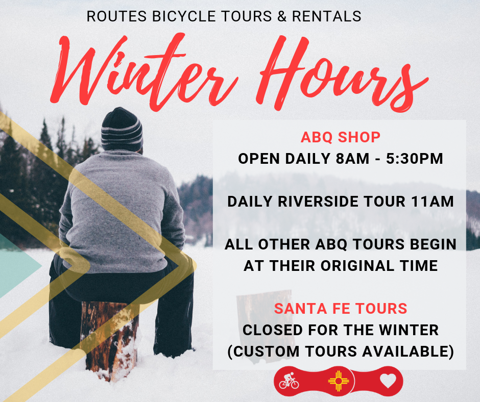Routes Bicycle Tours and Rentals Albuquerque Santa Fe New Mexico Winter Hours Snowshoe and Bike
