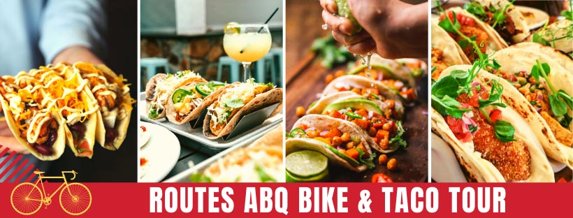 Albuquerque Bicycle Tour with Routes Bicycle Tours and Rentals New Mexico. ABQ Bike and Taco Food Tour.